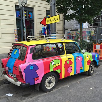 Berlin, Trabants, Mitte, Germany, Car, Colorful, Art