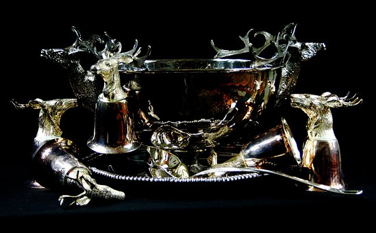 Punch Bowl, Ladle, Cups, Party, Stag, Tray, Set