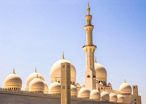 Dubai, Mosque, Blue, Gold, Blue Sky, Day, Architecture