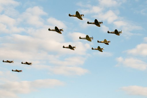 Spitfires, Flypast, Airshow, Iconic Aircraft