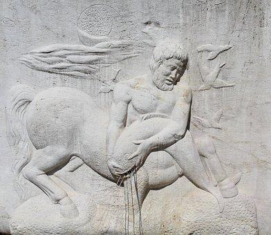 Centaur, Mythology, Sculpture, Art, Monument, Marble