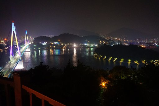 Yeosu, Stone Mountain Bridge, Night View