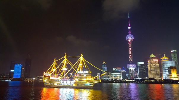 Shanghai, The Bund, Night View, Oriental Pearl Tower