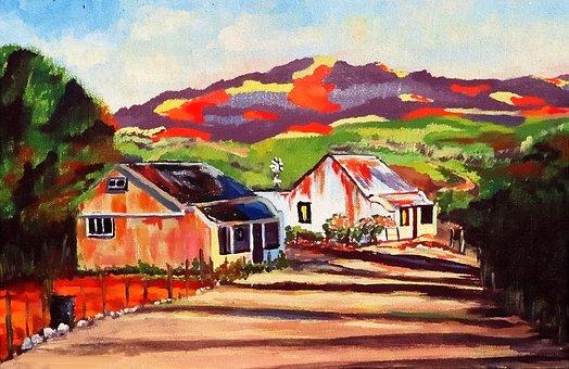 Painting Landscape, Brush Strokes, Acrylic Paint