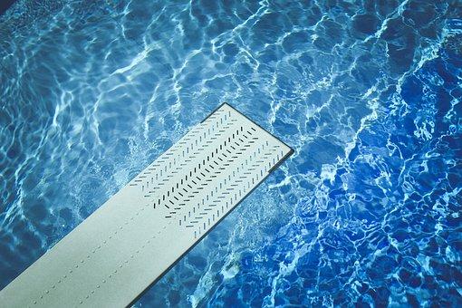 Blue, Diving Board, Pool, Recreation, Springboard