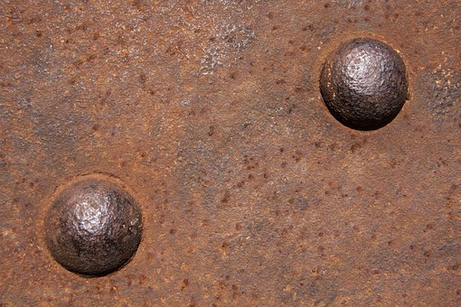 Riveting Heads, Rivet, Rusted, Iron, Old, Stainless