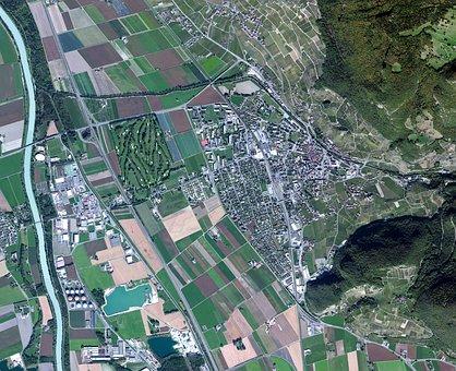 Satellite Photo, Europe, Small Town