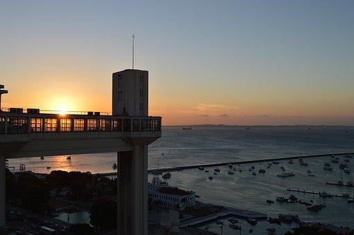 Sunset, Lift Lacerda, Salvador, Bahia, Brazil, Holidays