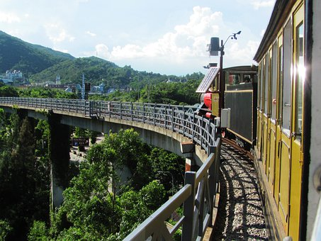 Shenzhen Guangdong, Oct, Train Tracks, Forest Trees