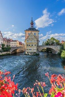 Water, Bamberg, Landmark, Regnitz, Town On The River