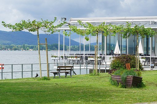 Untersee, Lake Constance, Zellersee, Beach Cafe