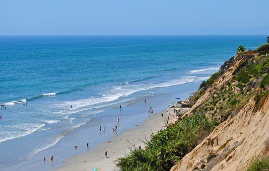 Carlsbad, California, Landscape, Ocean, Sea, Beach