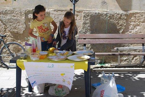 Lemonade Stand, Kids, Summer, Child, Juice, Girl, Sell