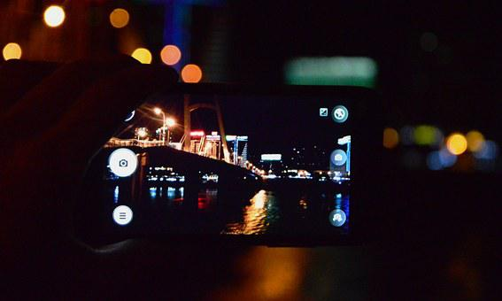 Mobile, The Viewfinder, Night View, City, Out Of Focus