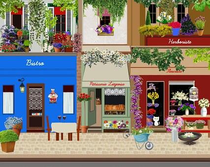 Street, Bistro, Pastry, Florist, Windows, Showcases