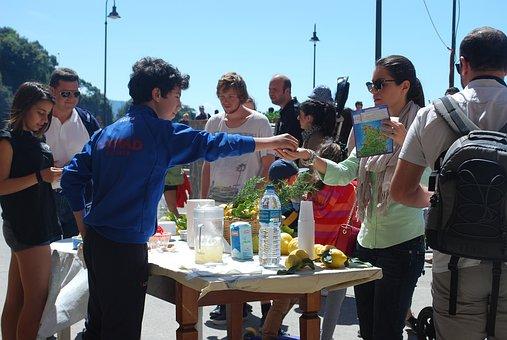 Lemonade Stand, Lemon, Beverage, Fruit, Summer, Italy