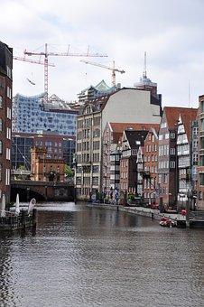 Hamburg, City, Water, Hamburg Symphony, Old And New