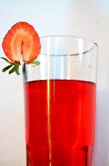 Strawberry, Drink, Beverage, Glass, Juice, Food, Fruit