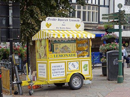 Lemonade, Lemons, Lemonade Stand, Lemonade Cart