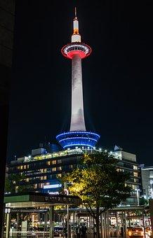 Kyoto Tower, Japan, Landmard, Night, Travel
