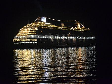 Reflections, Cruise Ship, Water, Ocean, Night