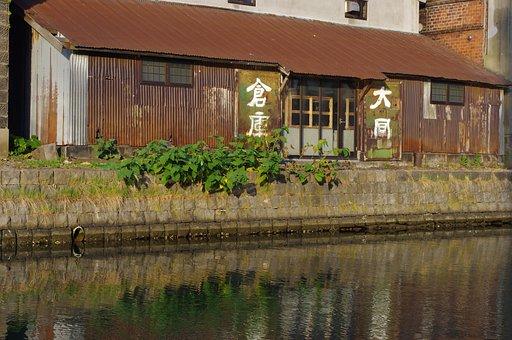 Warehouse, Canal, Japanese Characters, Kanji, Otaru