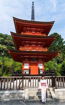 Sensō-ji, Kyoto, Japan, Person, People, Woman, Kimono