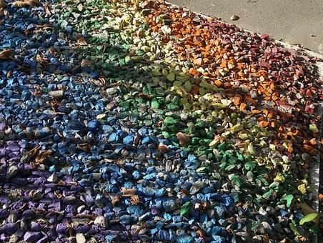 Pebbles, Pattern, Rainbow, Colored Scattering, Mosaic