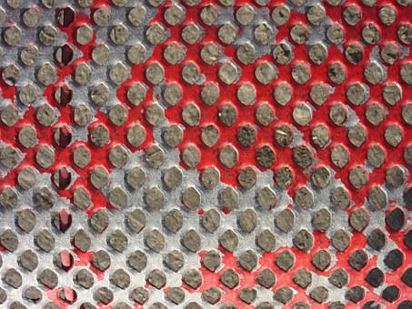 Perforated Sheet, Color, Red, Bright, Bare, Scuffed