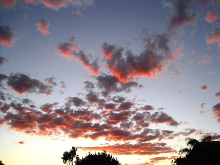 Sky, Clouds, Scattered, Dark Orange, Gold, Sunset