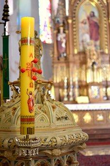 The Candle, Baptism, Font, Church, Religion, Sacrament