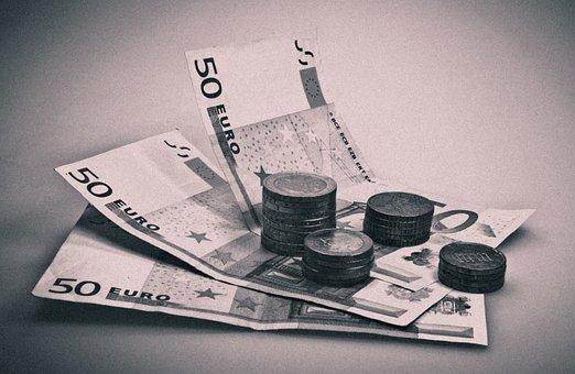 Money, Seem, Black, White, 50, Euro, Euro Banknote