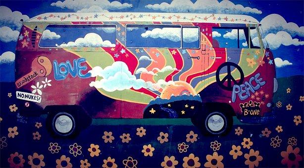 Hippie, Van, Vw Camper, Art, Love, Peace, Flower Power