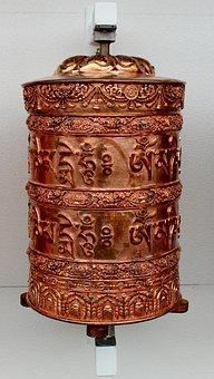Buddhist Wheel, Copper, Religious, Prayer, Symbol
