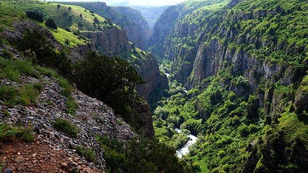 Mountains, Canyon, Stones, Nature, River, Shymkent
