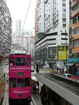 Hong Kong, Double Decker, Street Canyon
