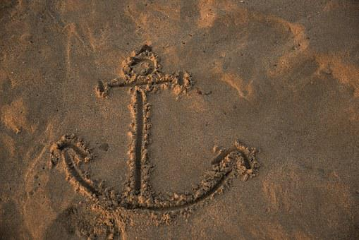 Footprints, Game, Anchor, Beach, Sand, Edge Of The Sea