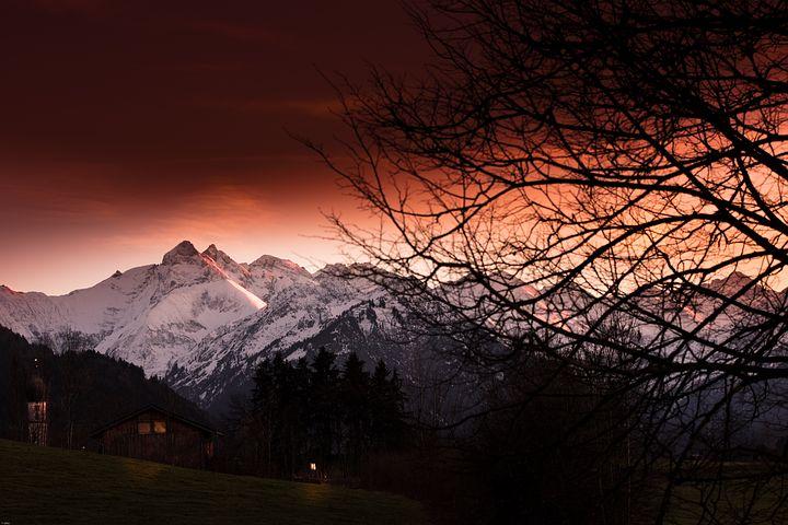 Allgäu, Autumn, Forest, Mountains, Evening Light
