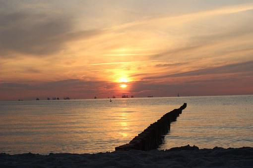 Baltic Sea, Sun, Sunset, Holiday, Beach, Sea, Evening