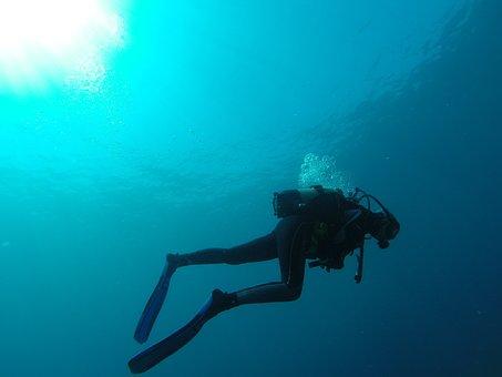 Diver, Sea, Bubbles, Scuba Diving, Blue, Marin, Bottles
