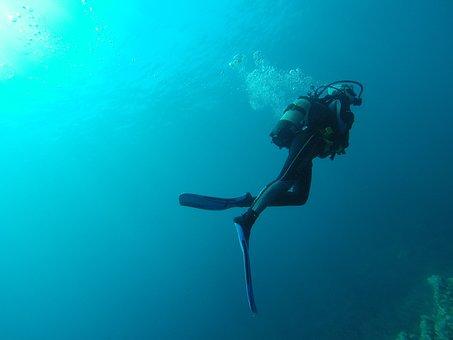 Diving, Sea, Water, Diver, Blue, Submarine, Bottles