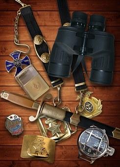 Binoculars, Compass, Dirk, Decoration, Buckle Sailor