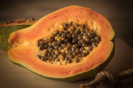 Papaya, Cut In Half, Cut, Delicious, Eat, Food, Fruit