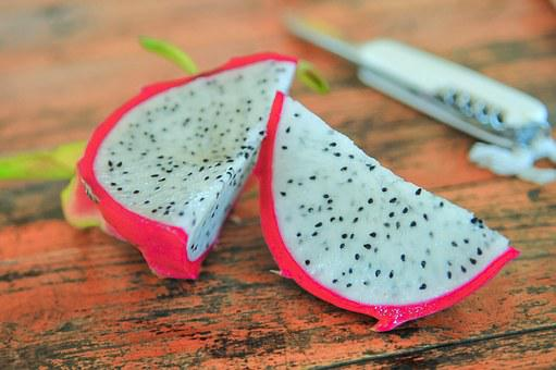 Fruit, Dragonfruit, Pitaya, Pink, White, Seeds, Eating
