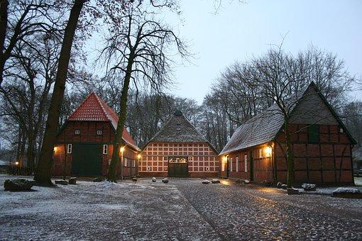 Fachwerkhaus, Snow, Heimathaus, Thatched Roof