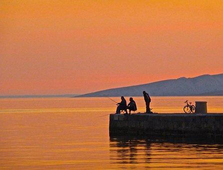 Fishing, Sunset, Silhouette, Fisherman, Angling