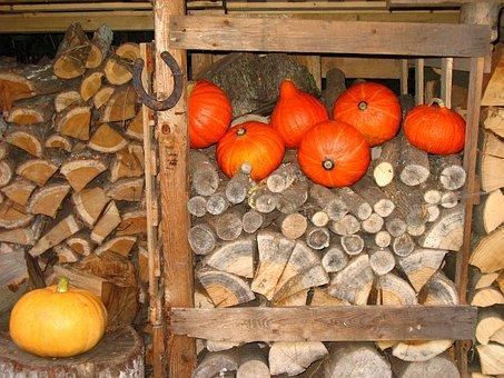 Horseshoe, Wood Pile, Pumpkin