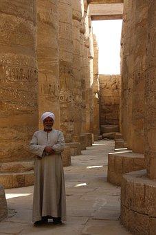 Egypt, Antic Columns, Luxor, History, Antiquities, Mann