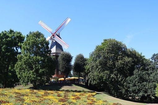 Bremen, Windmill On Wall, City, Windmill, Cafe