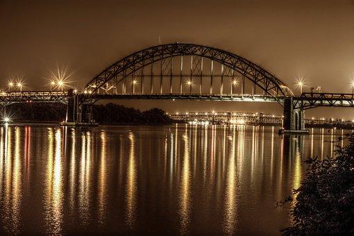 Bridge, Philadelphia, Night, Pennsylvania, City, River